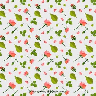 Padrão decorativo com rosas e folhas em design plano