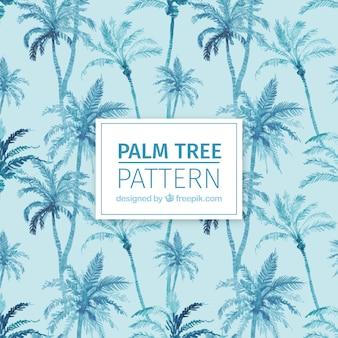 Padrão decorativo de palmeiras aquarela