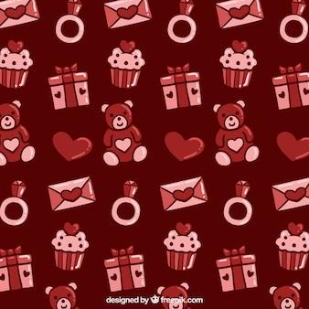 Padrão dos Valentim com ursos e presentes de peluche em tons vermelhos