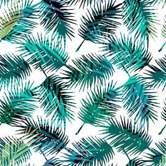 Padrão exótico sem costura com folhas de palmeira tropicais.