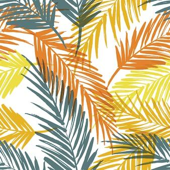 Padrão exótico sem costura com folhas de palmeira.