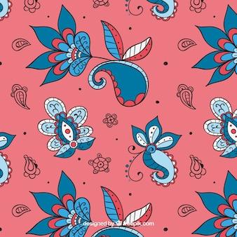 Padrão floral batik desenhado à mão elegante