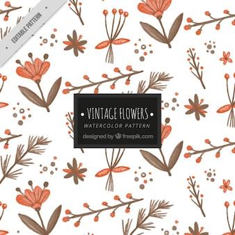Padrão floral da aguarela do vintage