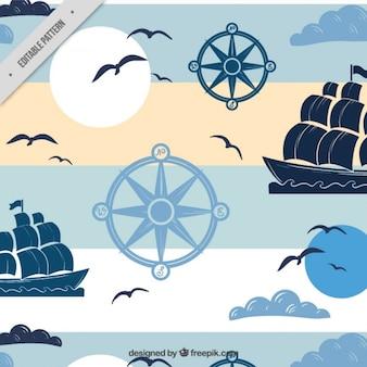 padrão náutico com barcos