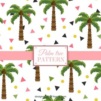 Padrão plano com palmeiras e formas geométricas