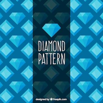 Padrão plano de diamantes em tons de azul