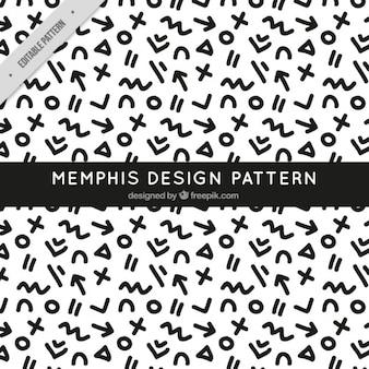 Padrão preto e branco Memphis