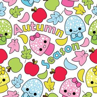 Padrão sem costura com cogumelos bonitos, maçãs e folhas de mapeamento no fundo branco Desenhos animados de vetores adequados para Kid Autumn Season design de papel de parede, papel de sucata e tecido de roupa infantil