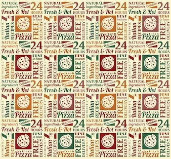 Padrão sem costura com letras de pizza