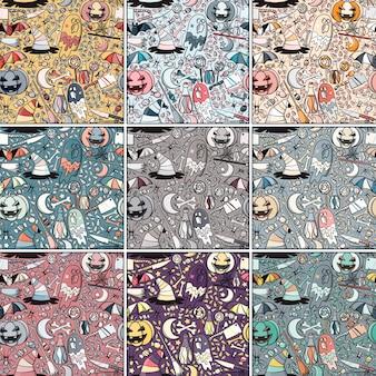 Padrão transparente Vintage Halloween em 9 paletas de cores diferentes. Resumo de desenhos animados desenhados a mão.