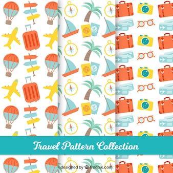Padrões bonitos com elementos de viagem de verão