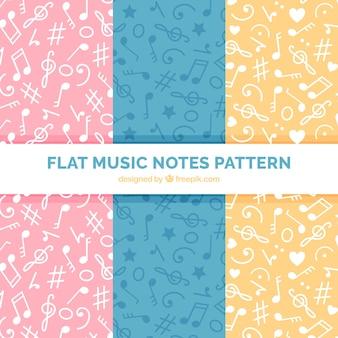 Padrões coloridos com notas musicais
