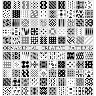 Padrões criativos em preto e branco
