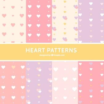Padrões de corações em cor pastel