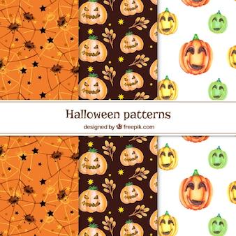 Padrões de Halloween da aguarela