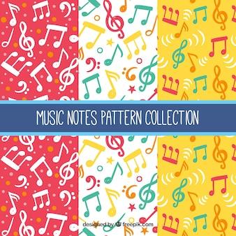 Padrões de notas musicais coloridas