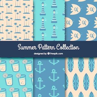 Padrões de verão decorativos com itens marinhos