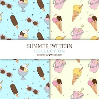 Padrões de verão desenhados à mão com deliciosos sorvetes