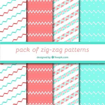 Padrões de ziguezague decorativos em cores pastel