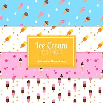 Padrões decorativos agradáveis de conjunto de sorvete
