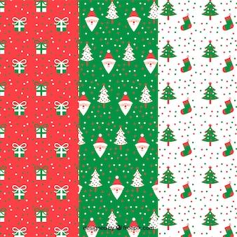 Padrões decorativos bonitos com elementos do Natal