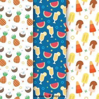 Padrões decorativos com sorvetes e frutas de verão