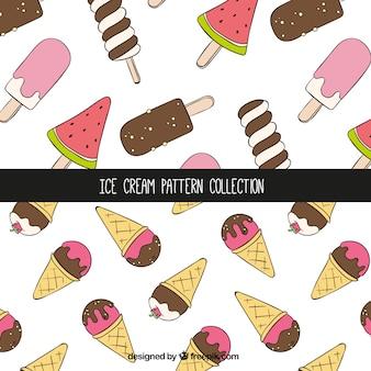 Padrões decorativos com sorvetes no estilo desenhado à mão