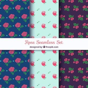 Padrões decorativos conjunto de rosas desenhadas à mão