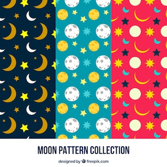 Padrões decorativos de lua e as estrelas
