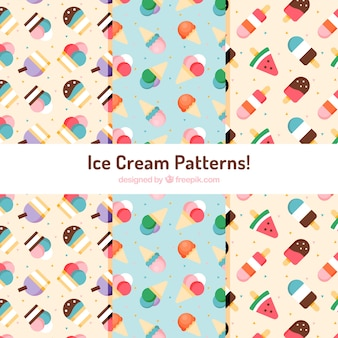 Padrões decorativos de sorvete em design plano