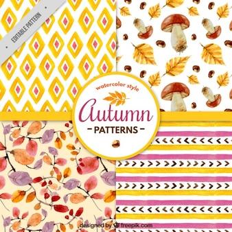 Padrões do outono no estilo da aguarela