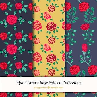 Padrões do vintage de rosas tiradas mão
