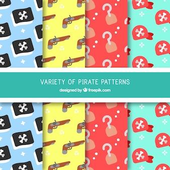 Padrões, pirata, elementos, liso, desenho