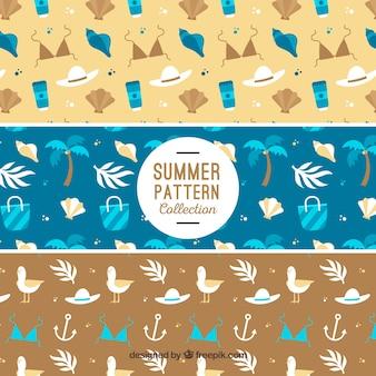 Padrões planos com elementos decorativos de verão