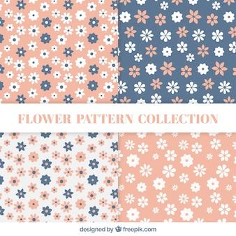 Padrões planos com flores em cores pastel