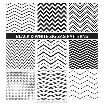 Padrões preto e branco Zig Zag