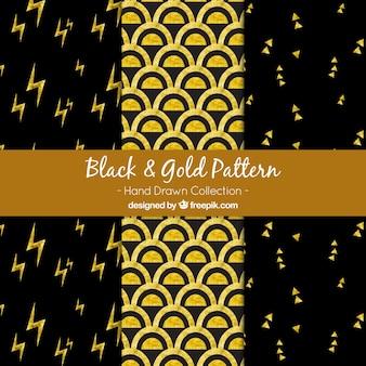 Padrões preto e dourado