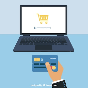 Pagamento, cartão e computador em linha
