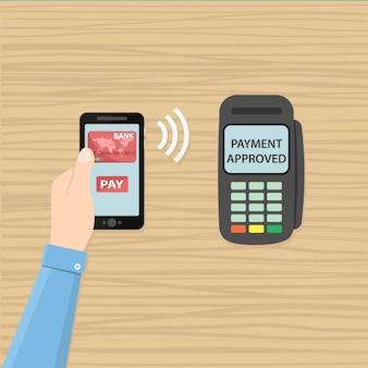 Pagamento móvel através do POS. Mão segurando smartphone com aplicativo de pagamento perto do terminal. Ícone de vetor plano.