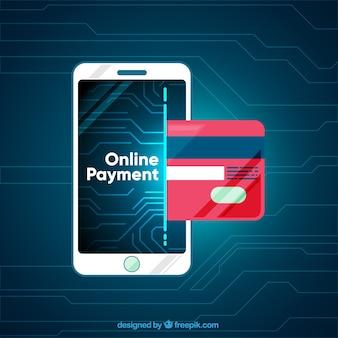 Pagamento online moderno com smartphone