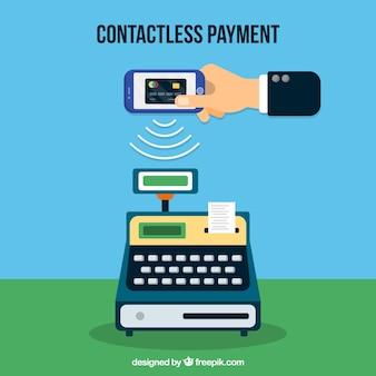 Pagamento sem contato com caixa registradora e telefone