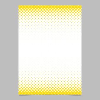 Página de padrão de círculo de meio-tom abstrato, modelo de folheto - design de fundo do flyer de vetores com pontos amarelos