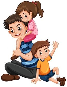 Pai com filha e filho