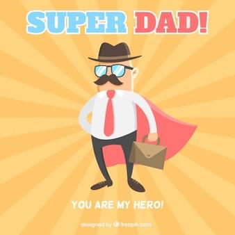 Pai com uma capa como um cartão de super-herói