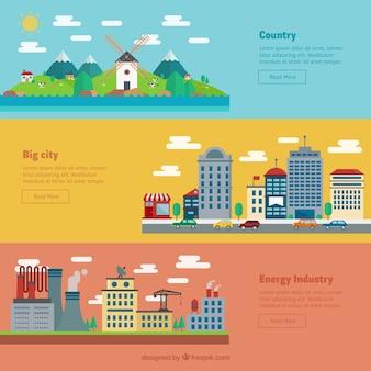 País, cidade e da indústria banners