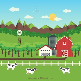Paisagem da exploração agrícola com gado