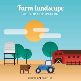 Paisagem da exploração agrícola no design plano