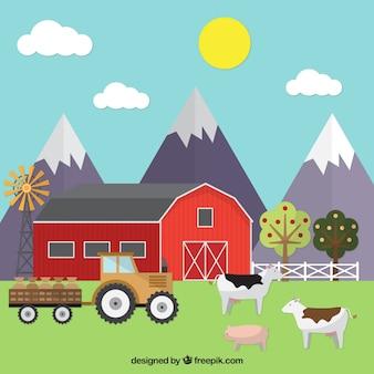 Paisagem da exploração agrícola plano com animais