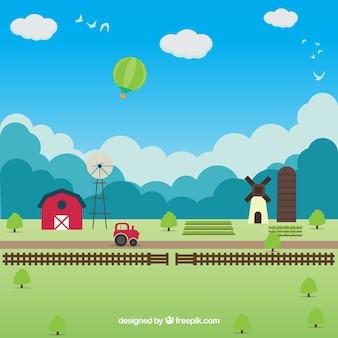 Paisagem da exploração agrícola plano com um céu azul