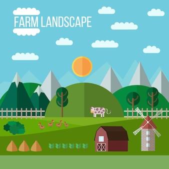Paisagem da exploração agrícola verde e liso
